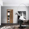 porta interna in laminato in larice e noce con vetro bianco coprente e lucido a battente calathea ican