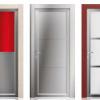 porta interna in laminato in larice sabbia con alluminio zero chimico e vetro seta rosso e bianco coprente e lucido a battente oxalis ican