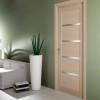 porta in legno rovere sbiancato con cristalli madras bianco battente modello m3 dorica castelli