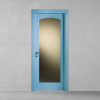porta in legno pantografata laccata blu pastello con cristallo madras bianco a richiesta a battente dorica castelli
