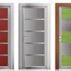 porta interna in laminato in alluminio zero chimico in noce scuro e larice rosso con vetro satinato grigio seta e verde a battente oxalis ican