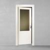 porta in legno pantografata laccata bianco con cristallo trasparente inciso in stile inglese a battente dorica castelli