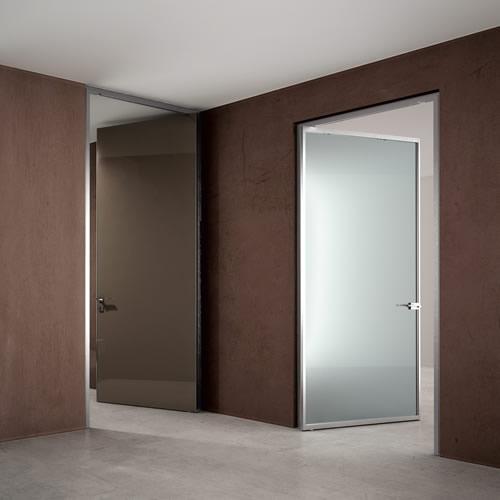 Porta In Vetro Acidato Verniciato Grigio E Quarzo Dinamika