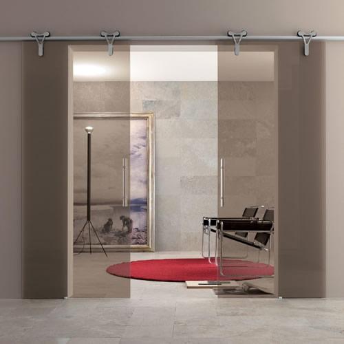 porta in vetro bronzo trasparente logika scorrevole con binario a parete in nickel adielle ...
