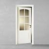 porta in legno pantografata laccata bianco con cristalli molati trasparenti a battente dorica castelli