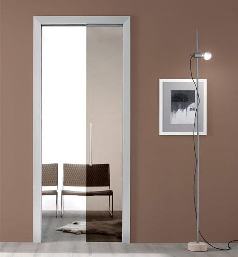 Porta in vetro bronzo light scorrevole a scomparsa con for Porta scorrevole a scomparsa