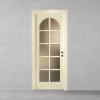 porta in legno pantografata laccata bianco con cristalli molati trasparenti in stile inglese a battente dorica castelli