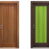 porta interna in laminato in noce scuro e wengè con vetro seta verde a battente kentia ican