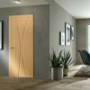 porta in legno pantografata laccata beige cipria con telaio inverso a battente dorica castelli