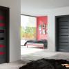 porta interna in laminato in rovere grigio con vetro rosso scuro coprente e lucido nero con svarowski a battente eranthis ican