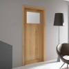 porta in legno rovere naturale con cristallo madras bianco battente modello m3 dorica castelli