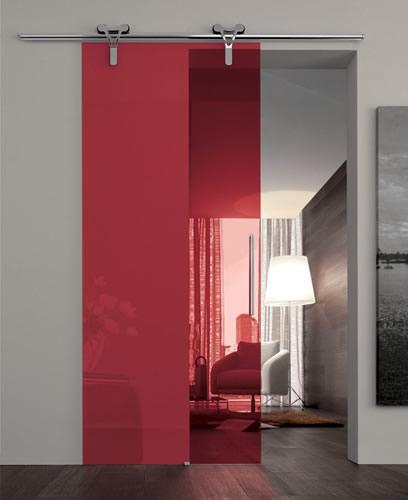 Porta in vetro rosso trasparente logika scorrevole con binario a parete cromo adielle casa - Parete attrezzata con porta scorrevole ...