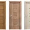 porta interna in laminato in larice e noce biscotto sabbia con vetro seta verde a battente eranthis ican