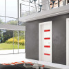 porta interna in laminato in larice bianco con vetro seta rosso a battente calathea ican