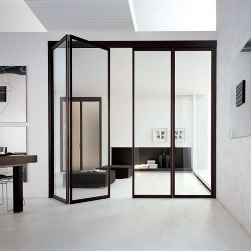 Porta in vetro neutro a soffietto unika con binario - Porta a soffietto in vetro ...