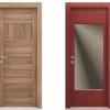porta interna in laminato in noce biscotto e larice rosso con vetro satinato bronzo a battente ixia ican