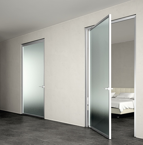 Pareti In Vetro E Alluminio : Porta in vetro acidato dinamika a ...