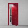 porta in legno laccata incisa frassino a poro aperto rosso rubino rototraslante dorica castelli