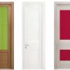 porta interna in laminato in larice e noce bianco e rovere decapè con vetro seta verde e rosso scuro coprente lucido a tutta altezza a battente granluce ican