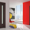 porta interna in laminato wengè verticale e orizzontale con vetro satinato a battente starlet ican