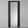 porta in legno rovere tinto grigio con cristallo battente modello m3 dorica castelli