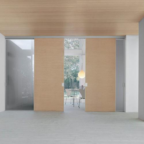 porta in vetro pixel fumè scorrevole mitika con binario a soffitto in ...