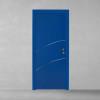 porta in legno laccata azzurro con listelli cromo a battente dorica castelli