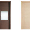 porta interna in laminato in rovere chiaro orizzontale grigio e wengè con stipite e finitura in alluminio a battente diva ican