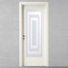 porta in legno laccata bianco puro con cristallo trasparente acidato a battente dorica castelli