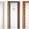 porta interna in laminato in rovere chiaro con vetro satinato inciso e noce moka e ciliegio a battente diva ican