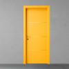 porta in legno laccata giallo zafferano con listelli cromo a battente dorica castelli