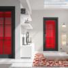 porta interna in laminato in rovere grigio con vetro seta rosso a battente vanity ican