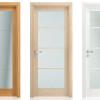 porta interna in laminato in noce chiaro e rovere bianco con vetro satinato inciso a battente vanity ican