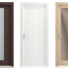 porta interna in laminato in wengè orizzontale bianco e rovere chiaro con vetro satinato inciso bronzo a battente vanity ican