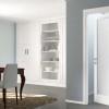 porta interna in laminato bianco con vetro latte inciso a battente vanity ican