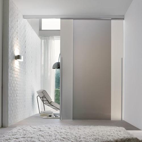 Porta in vetro acidato scorrevole light esterno muro con - Porta scorrevole vetro ...