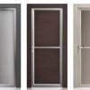 porta interna in laminato in rovere grigio e wengè decapè con alluminio zero chimico e vetro satinato bronzo a battente oxalis ican