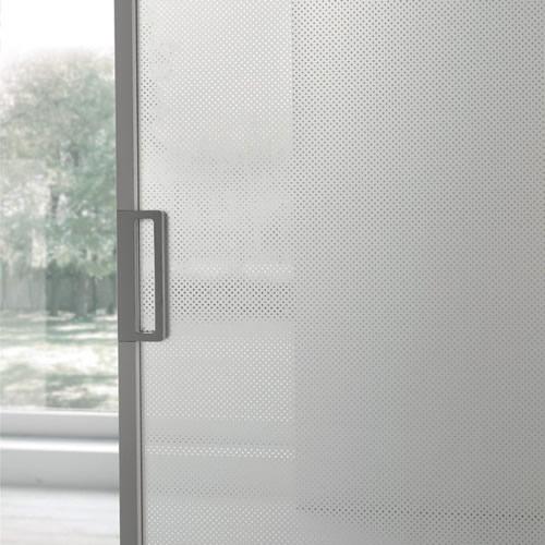 porta in vetro opaco scorrevole mitika con binario a soffitto in alluminio de...