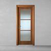porta in legno pantografata alder tinto noce con telaio tanganika vetro cristallo satinato battente dorica castelli