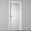 porta in legno pantografata frassino laccato a poro aperto bianco con massello orizzontale battente dorica castelli